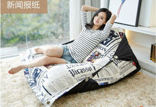 Factory Direct Custom Lazy Chair Creative Leisure Bean Bag (filler included)Simple News Newspapers Swim Spa Sofa Lazy Bones