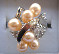 Hot sell Noble FREE SHIPPING>>>@@ 0x Charming pink freshwater pearl rings size: 6 9#
