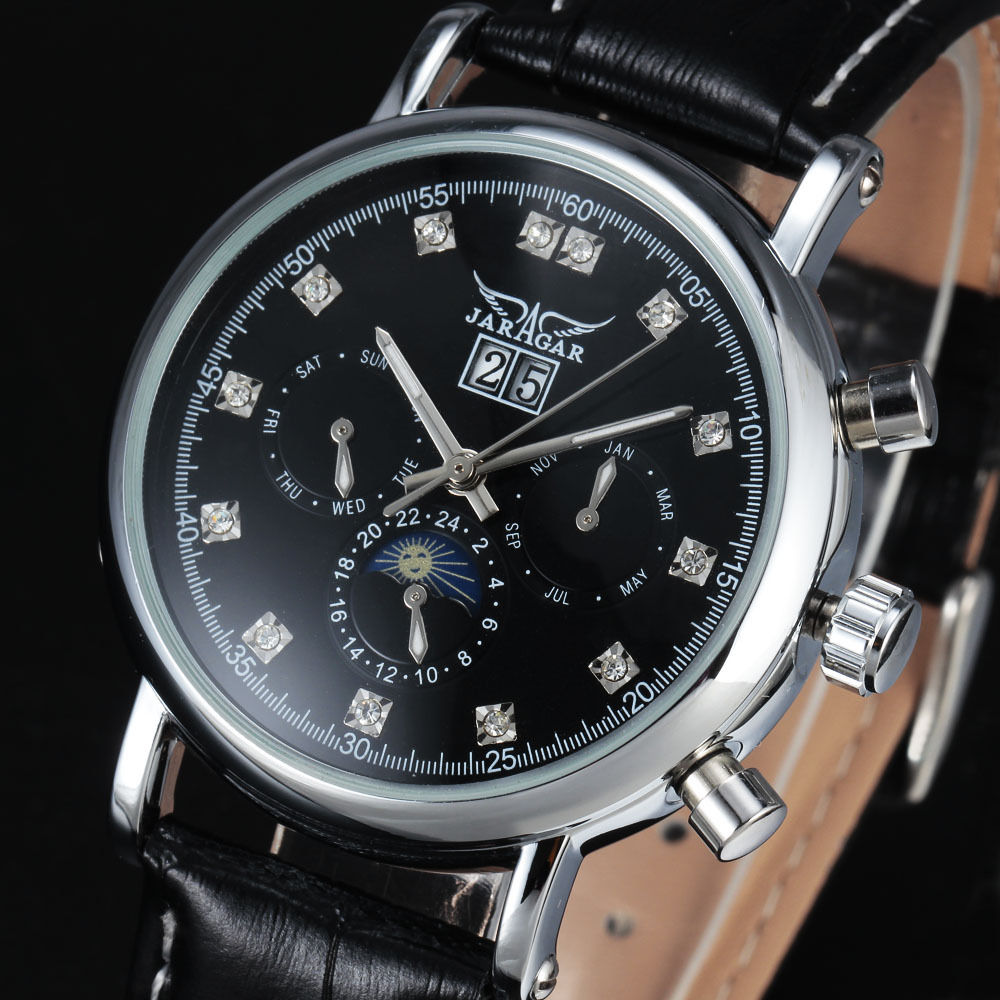 New Classic Jaragar Auto Day Tourbillon Automatic Mechanical Colck Black Leather Band Wrist Men s Business