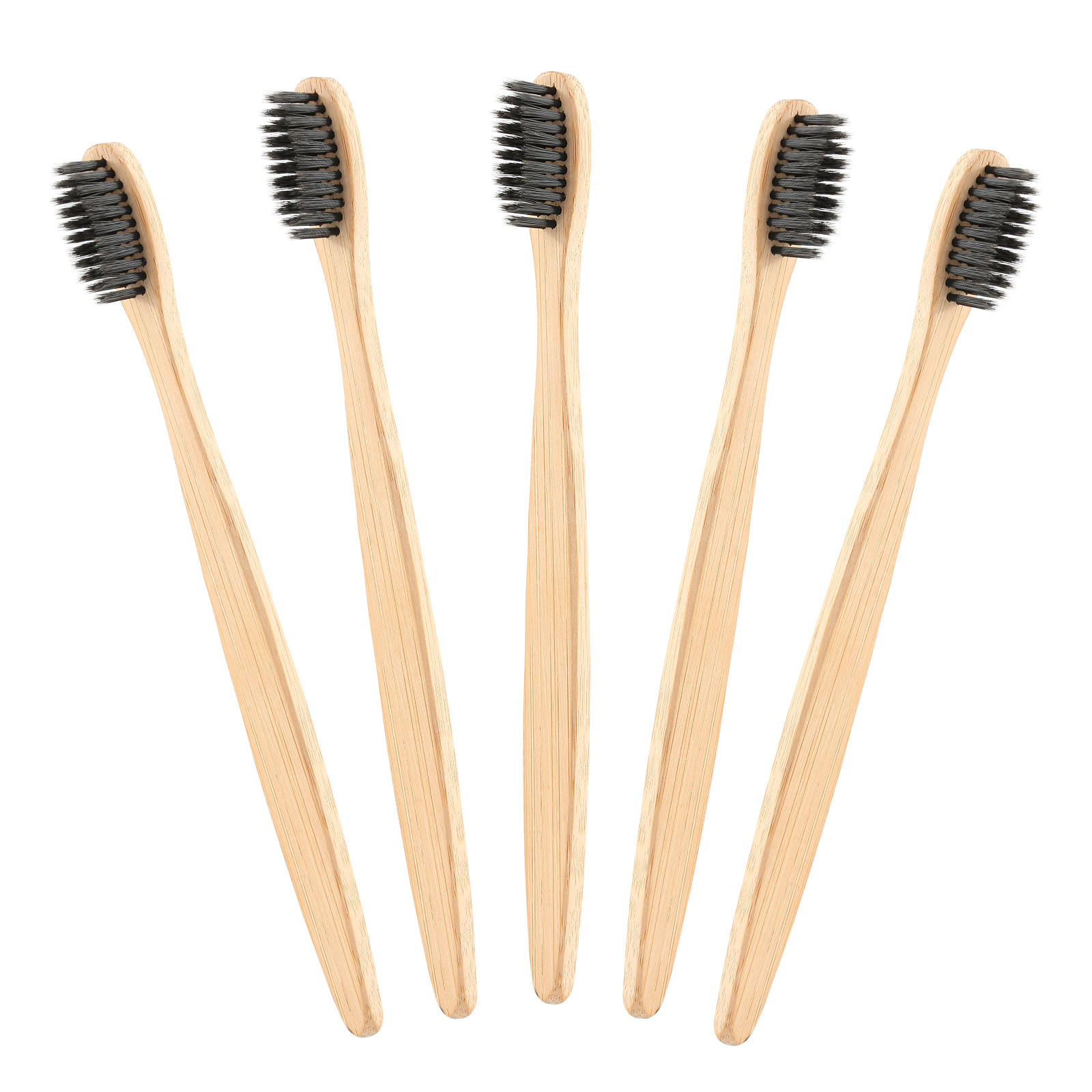 Y&W&F 5Pcs Slim Style Bamboo Wood Toothbrush Bamboo Novelty Charcoal Toothbrush Soft-bristle Nylon Wooden Handle image