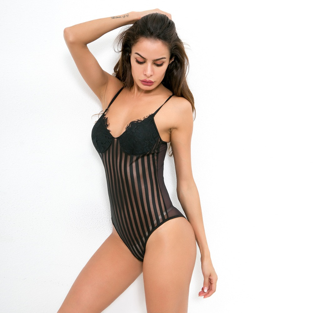 Cryptographic Sexy spaghetti strap mesh lace bodysuit women stripe patchwork jumpsuit transparent 2018 new catsuit body feminino 22