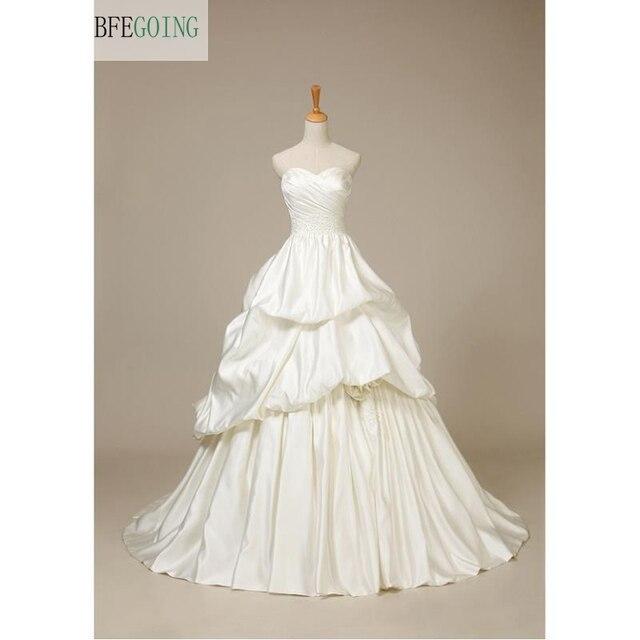 Ivory Satin Floor Length A line Wedding dress Court Train Lace up ...