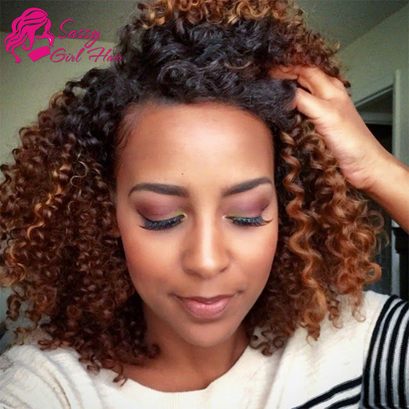 Malaysian Curly Hair Ombre Human Hair Weave Two Tone 1b 30