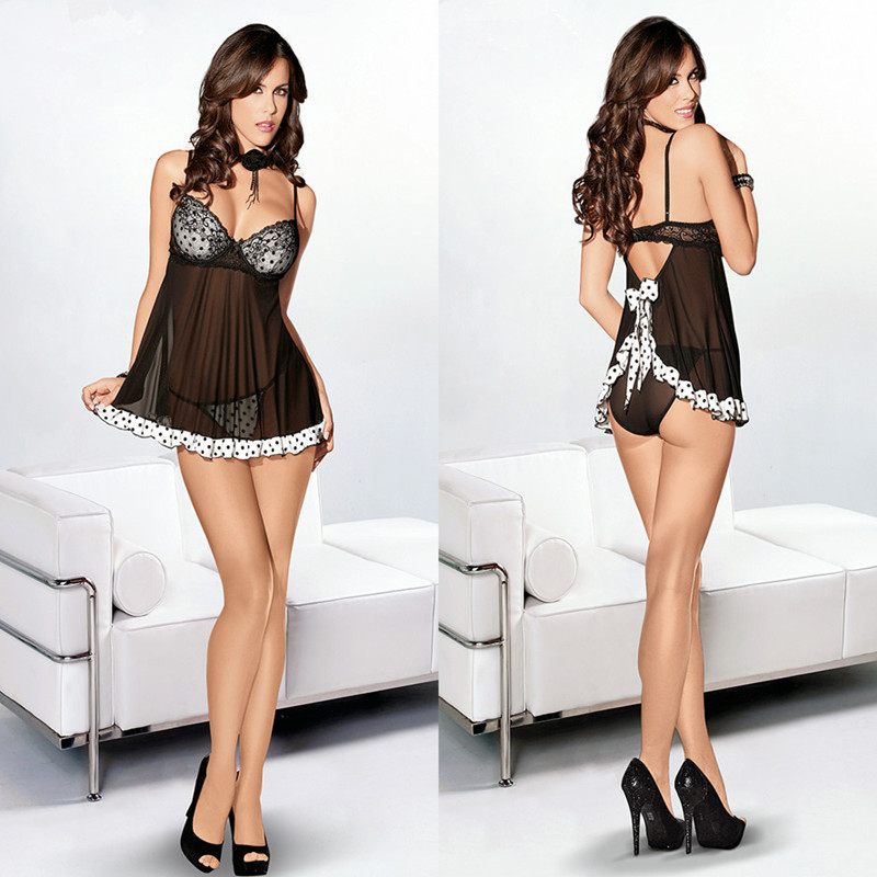 Disfraz Sexy Polka Dot Cute Gecelik Lingerie Short Dress Hot Sale Women Large Size Erotic Perspective