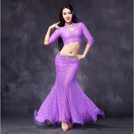 27cc111db64c NEW! lace belly dance costumes senior half sleeves top+skirt 2pcs ...