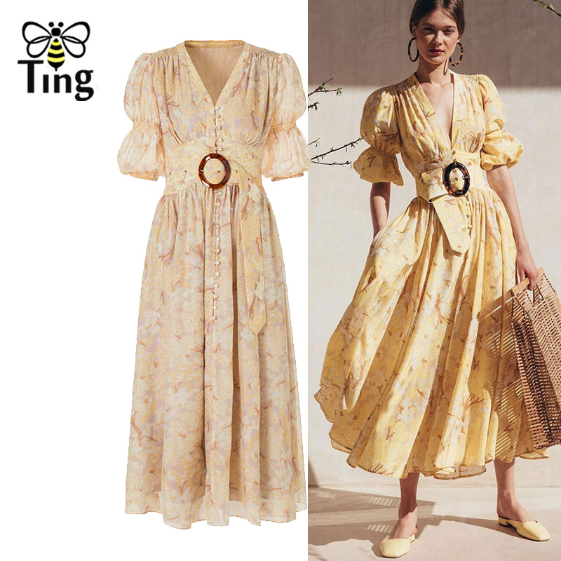 Tingfly Designer Runway Summer Dress Floral Dress Fashion Single Breated Party Dresses with Sashes Casue Office Work Vestidos