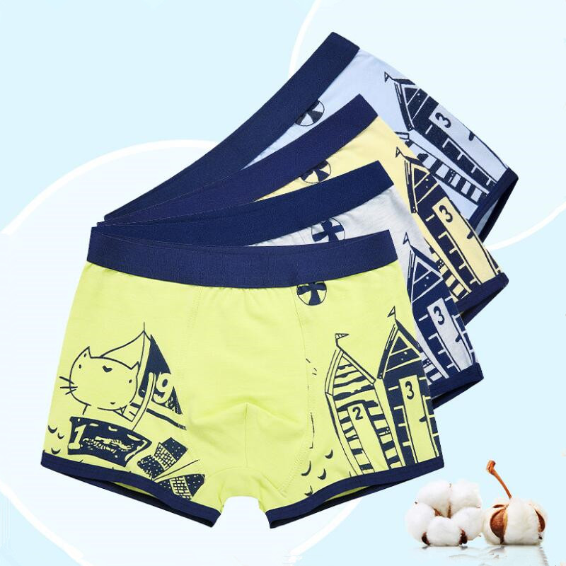 4pcs/lot cotton underwear for boys briefs children   panties   kids clothes for 3-12T teenage boys clothing 2018 new year gift