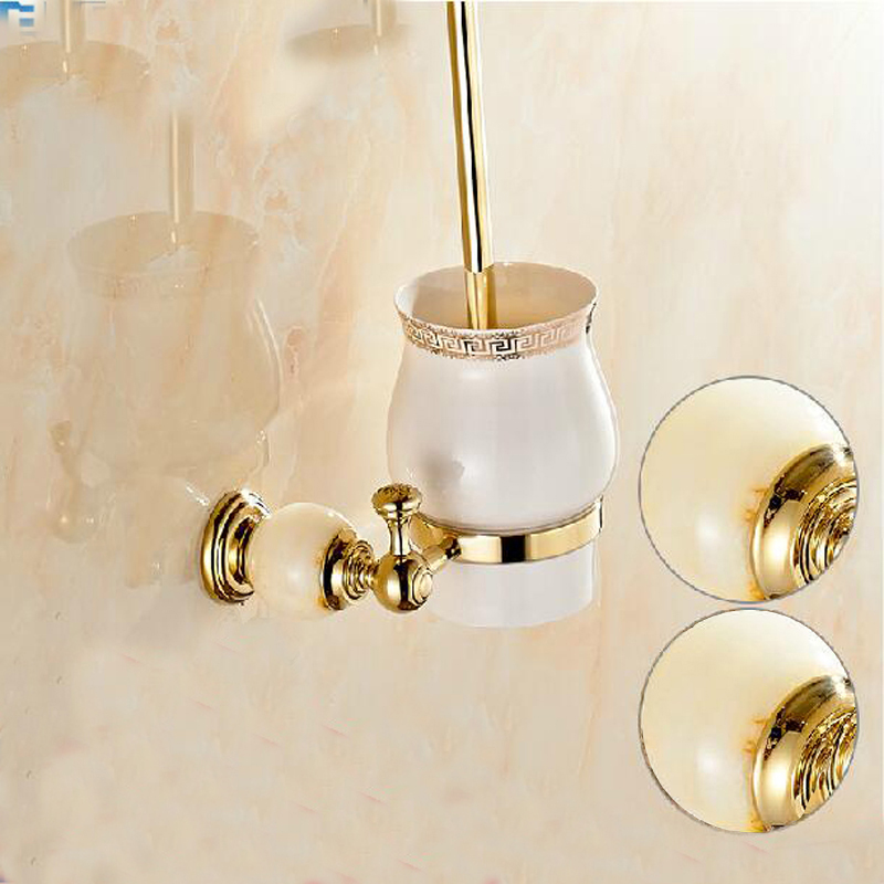 Wholesale And Retail Luxury Wall Mounted Bathroom Toilet Brush Holder Ceramic Cup Golden Brass & Marble Holder Accessories free shipping high quality bathroom toilet paper holder wall mounted polished chrome