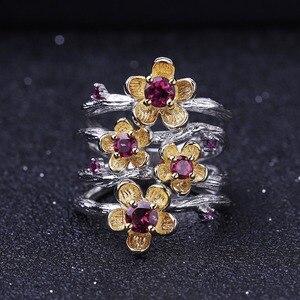 Image 2 - GEMS BALLET 925 Sterling Silver Handmade Ring 0.96Ct Natural Rhodolite Garnet Plum Blossom Flower Rings for Women Fine Jewelry