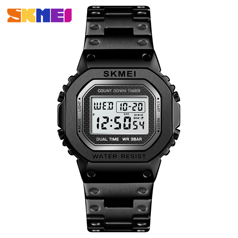 <font><b>SKMEI</b></font> <font><b>1456</b></font> Sport Watch Men LED Digital Watches Full Steel Shock Waterproof Chronograph Alarm Clock Men's Electronic Wristwatches image