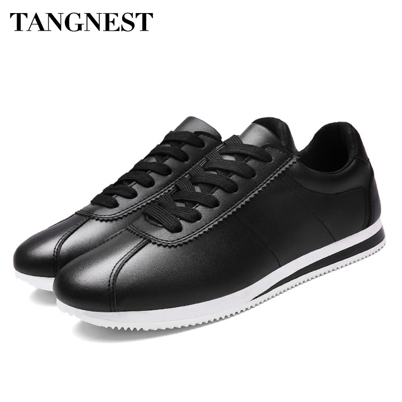 Tangnest Men Sneakers For Spring PU Leather Casual Shoes Lace Up Round Toe Flat Shoes Breathable Men Fashion Shoes XMR2799