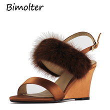 Bimolter Women Silk Sandals Wool Fur Wedges Ankle Strap Heels Retro Shoes Ladies Yellow Concise New PSHA005