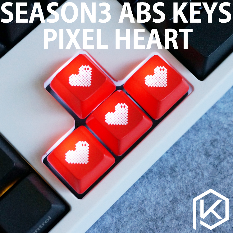 Mechanical-Keyboards Shine-Through-Keycaps Novelty Black Custom Heart ABS Pixel Etched