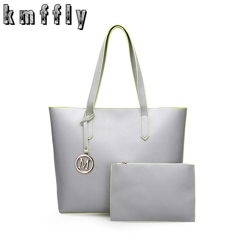 Women Handbags Pu Leather Composite Bags Big Gray Shoulder Bag Designer Bags Handbags Women Famous Brands Set Tote+Clutch Bag classic black leather tote handbags embossed pu leather women bags shoulder handbags elegant
