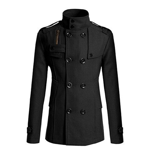 Новинка Мужская Мода Тонкий длинный плащ пальто ветровка с лацканами и пуговицы Куртка Верхняя одежда