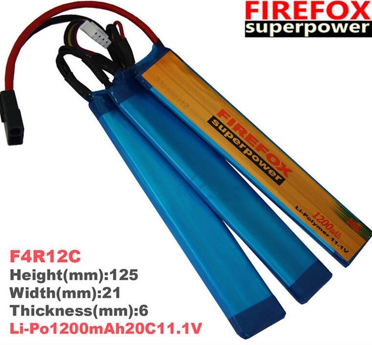 1pcs 100% Orginal FireFox 11.1V 1200mAh Li-Po Polymer 3 cell Battery 20C F4R12C Drop shipping 1pcs 100% orginal firefox 11 1v 1500mah 15c li po aeg airsoft battery f3l15c drop shipping