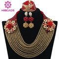 Vermelho africano Beads Jewelry Set 2017 Nigeriano Contas Vermelhas Colares Set WB763 Vermelho Traje Do Ouro Conjunto de Jóias Mulheres Frete Grátis