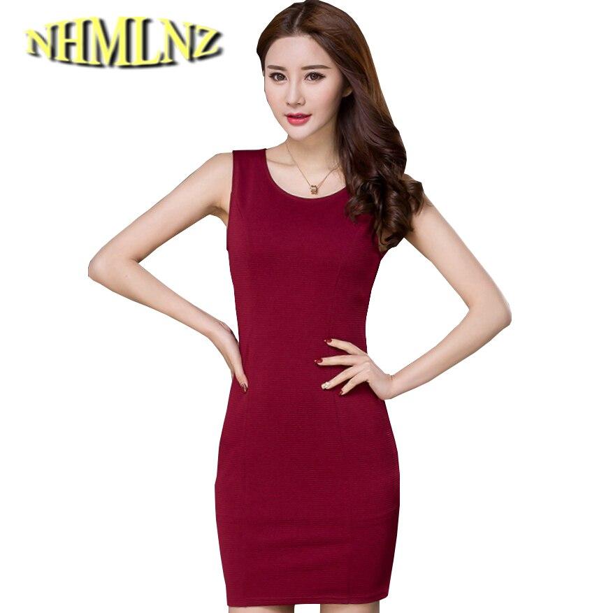fcfbfc07f0d0d 2019 Son Bahar yaz Moda Kadın Elbise Ince Büyük metre Hale Eğlence Ofis  Elbise Kolsuz Saf renk Kısa Elbise G2472
