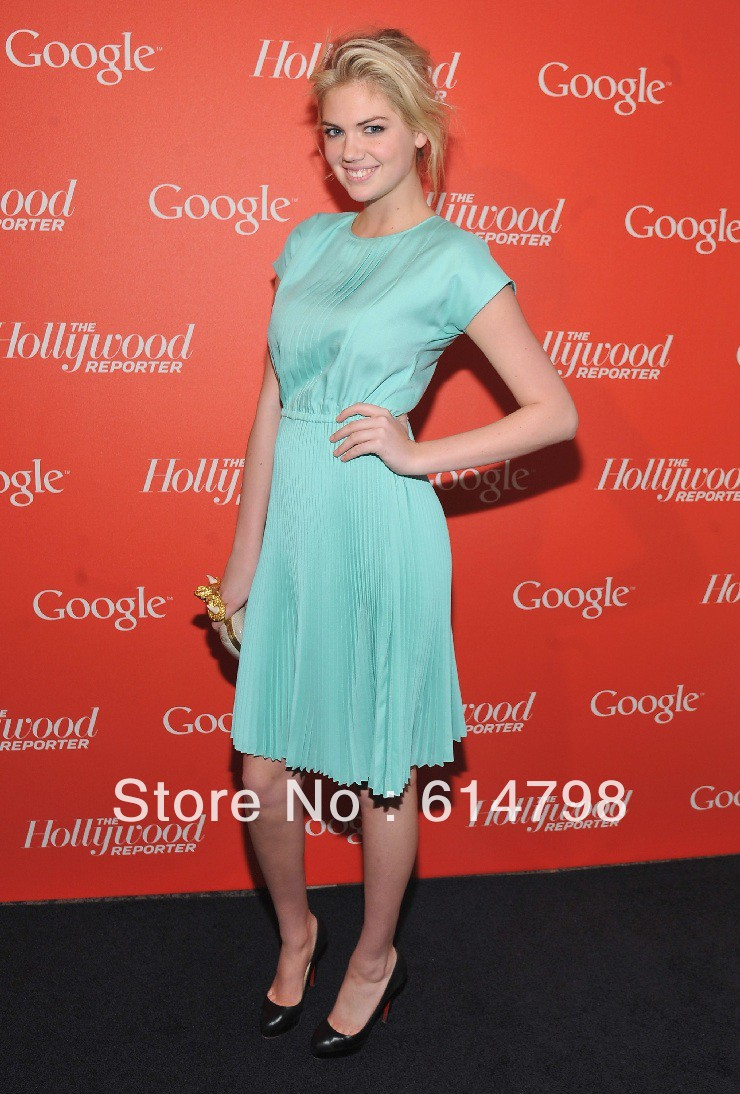 kate upton Discounted Green Scoop Short Sleeves Pleat Knee Length ...