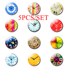 5PCS/SET Retro Color Lovely Clock 25MM Glass Cabochon Dome Jewelry Making Fashion Accessories Children's Gift(Not Really Table)