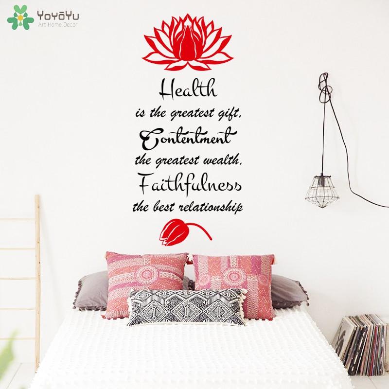 Yoyoyu Wall Decal Buddha Lotus Flower Quotes Wall Sticker Yoga