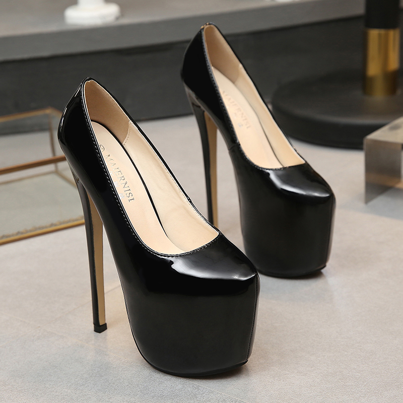 Image 2 - MAIERNISI Women Shoes Spring/Autumn Sexy Wedding Round Toe Woman Pumps Platform Very High Heel Pumps Candy Color Stilettos-in Women's Pumps from Shoes