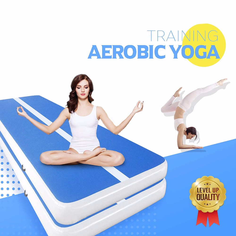 Inflatable Gymnastics AirTrack Tumbling Air Track Floor Trampoline Electric Air Pump for birthday Home Use/Training/Cheerleading цена