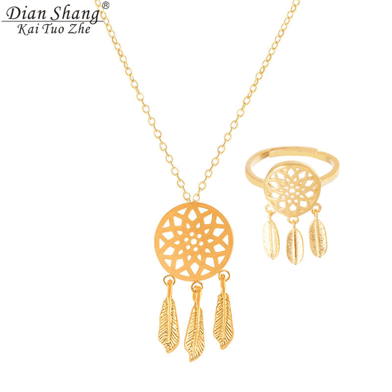 ICFTZWE Gold-Chain Dreamcatcher Bridesmaid Necklace Rings Jewelry-Sets Gift Women