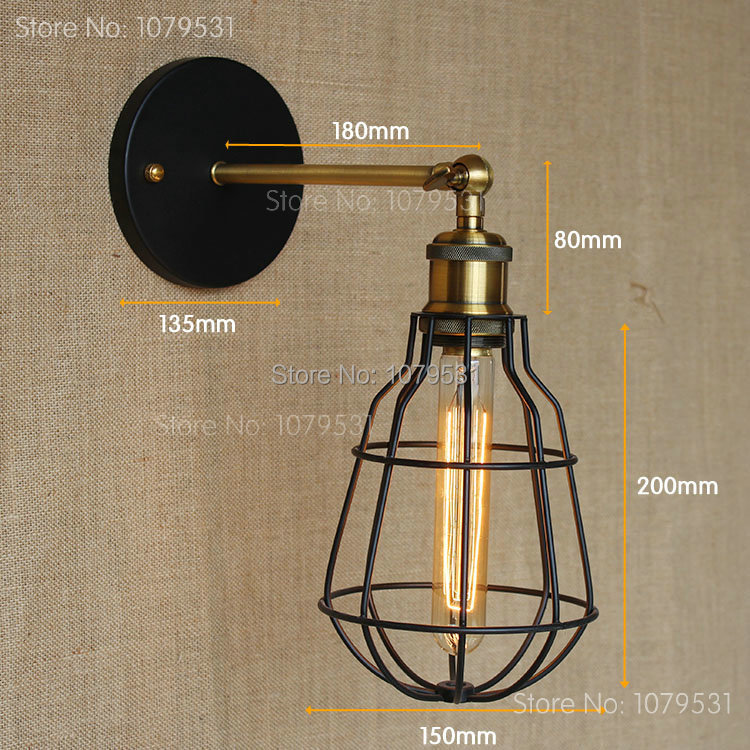 Industrial Vintage Loft American Wall Lamps Aisle Vintage Iron Wall Light For Home Decoration,Coffe Bar Beside Lamp