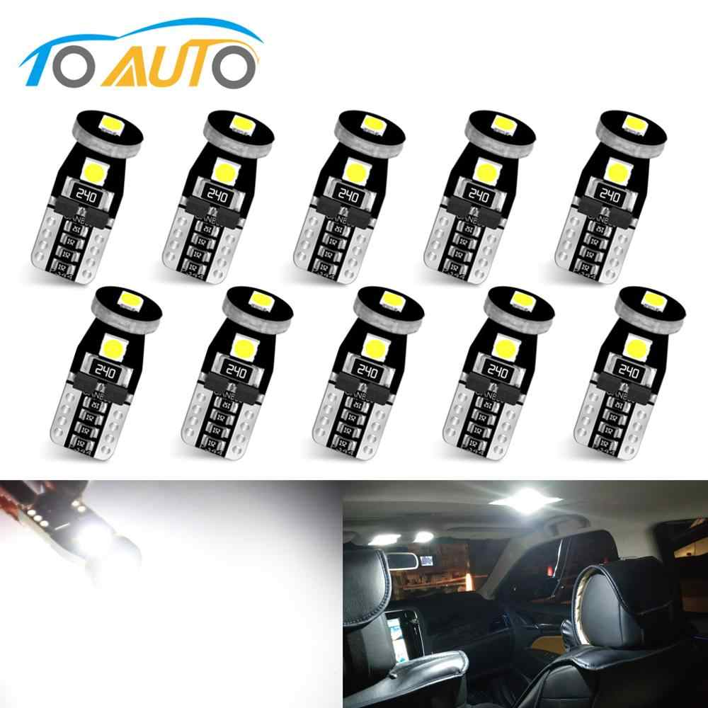 10pcs T10 Led W5W LED Bulbs 194 168 Canbus Error Free Super Bright 3030 Chips Car Dome Lights Door Light Panel Lamp Auto 12V