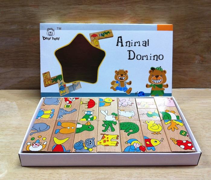 Mainan Bayi Haiwan Haiwan Domino 15Pcs Blok Bangunan Mainan Kayu - Mainan pembinaan - Foto 4