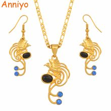Anniyo Papua New Guinea Black Pearl Bird Pendant Necklace and Earrings Jewelley Sets PNG Ethnic Jewelry Party Gifts #137906BE(China)