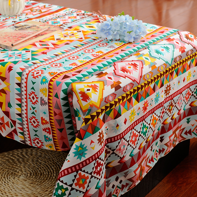 Cute Tablecloths For Restaurant Hotel Bohimia Geometric Multy Color Table Cloth 100 Cotton Thicken Table Cover Home Decorative in Tablecloths from Home Garden