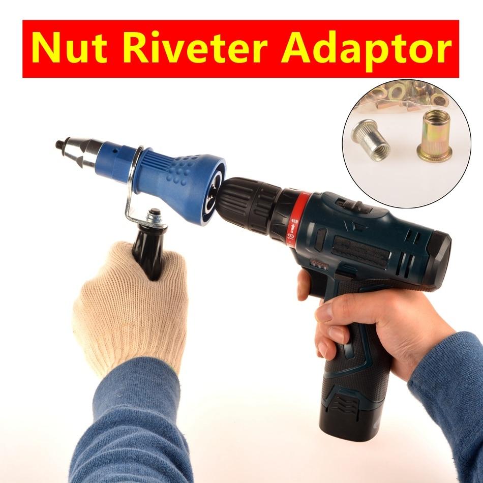 MXITA Electrical Rivet Nut Guns M3 M4 M5 M6 M8 M10 Cordless Nut Riveter Gun Drill Adapter Rivet Nut Tool Electrical Nut Riveter