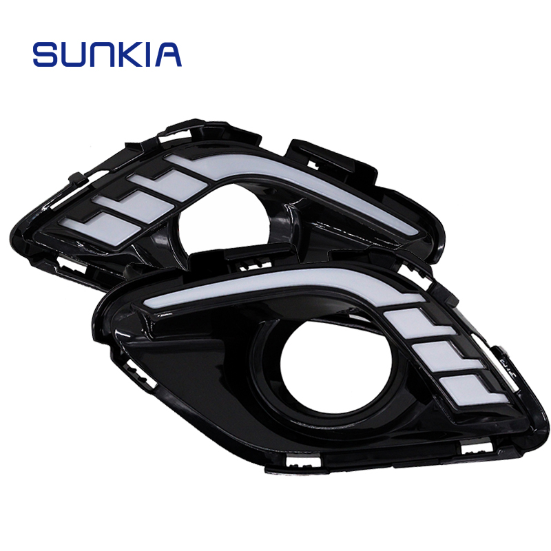 SUNKIA DRL Car LED Daytime Running Light For Mazda 6 ATENZA 2013 2014 2015 with Yellow