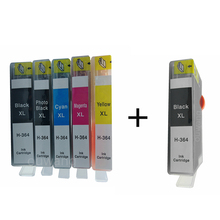 1 Set + Bk Ink Cartridges Replacement For  364 XL 364XL BK M C Y Photosmart B010a B110a B110e B111a estation C510c