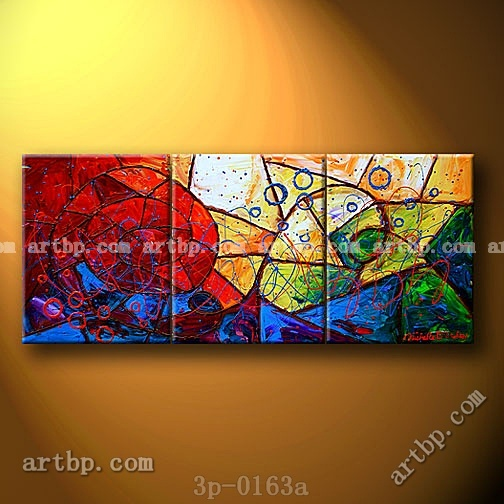 Stained Gl Deceptions Oil Painting On Canvas Wall Decor S 3 Panel Pcs Set