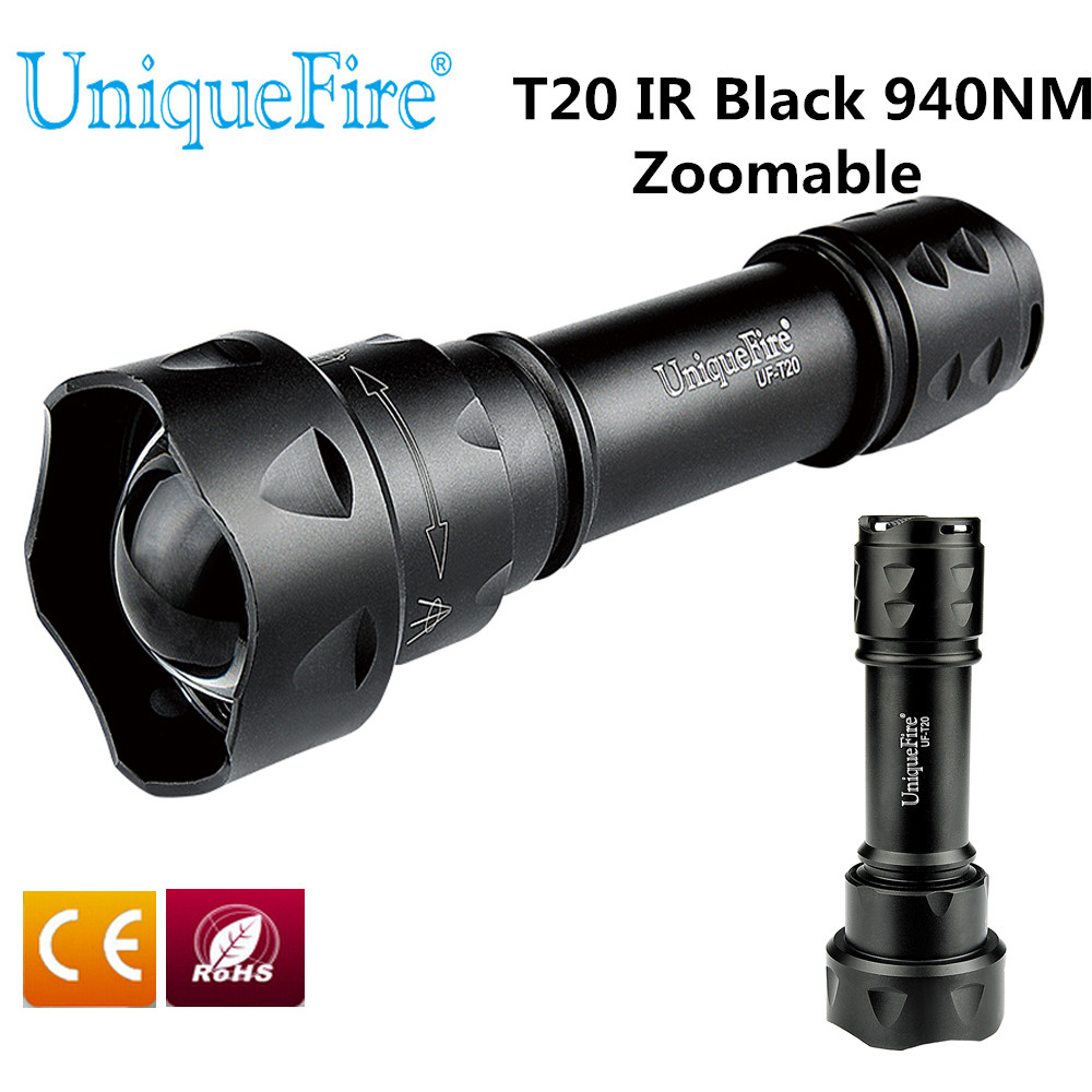 UniqueFire T20 IR 940nm 1/3 Mode LED Night Vision Flashlight Infrared Light Adjustable Zoomable Tactical 38mm Convex Lens Torch uniquefire uf 1407 mini 850 ir led zoomable flashlight 3 modes 30mm convex lens torch camping light for 1x 18650 battery page 2