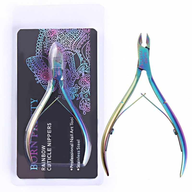 BORN PRETTY Nail Cuticle Pusher Nipper Clipper Scissors Dead Skin Remover Stainless Steel Rainbow Tweezer Manicure Nail Art Tool