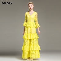 New 2018 Spring Long Dress Women Party Wedding Ladies V Neck Floral Embroidery Cascading Princess Long