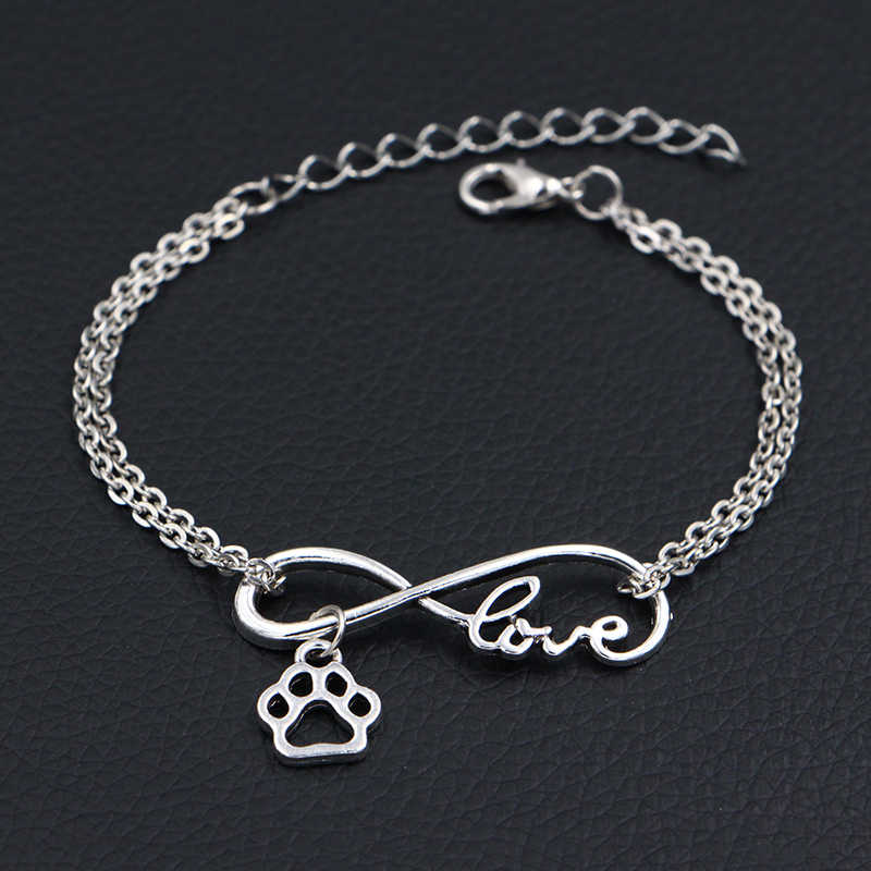 2019 New Little Dog Paw Prints Charms Bracelets Antique Silver Handmade DIY Infinity Love Charms Bracelets Women Fashion Jewelry