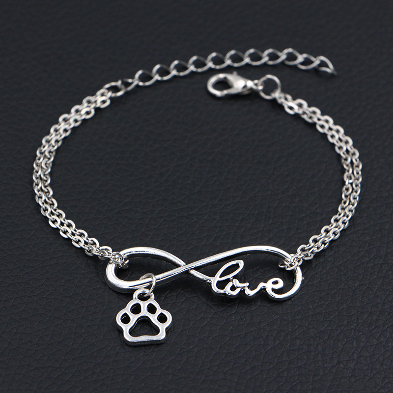 2019 New Little <font><b>Dog</b></font> Paw Prints Charms <font><b>Bracelets</b></font> Antique Silver Handmade DIY Infinity Love Charms <font><b>Bracelets</b></font> Women Fashion Jewelry image