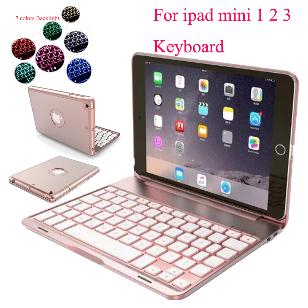 For iPad Mini 1 2 3 Backlit Wireless Bluetooth Keyboard 7 Colors Backlight Ultra Slim Mini Bluetooth 4.0 Aluminum ABS Material ultra thin wireless bluetooth keyboard for ipad mini 4 case 7 9 inch aluminum alloy hollow out 7 colour backlight logo design