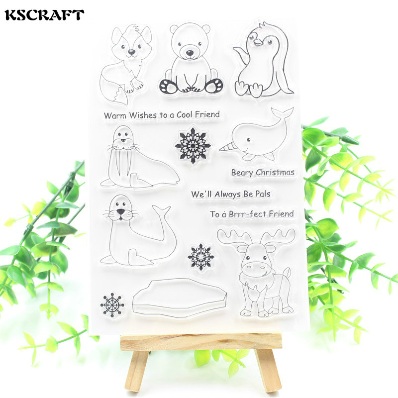 KSCRAFT Polar Animals Transparent Clear Silicone Stamps for DIY Scrapbooking/Card Making/Kids Crafts Fun Decoration Supplies
