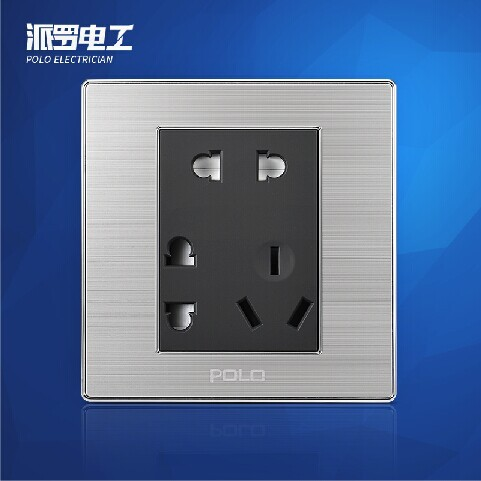 Free Shipping, POLO Luxury Wall Light Switch Panel, 7-Pins Socket, Champagne/Black, Electric Socket, 10A, 110~250V, 220V 1 piece free shipping anodizing aluminium amplifiers black wall mounted distribution case 80x234x250mm