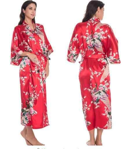 RB015 ผ้าซาตินสำหรับเจ้าสาวงานแต่งงาน Robe ชุดนอนผ้าไหม Pijama สบายๆเสื้อคลุมอาบน้ำสัตว์เรยอนยาว Nightgown ผู้หญิง Kimono XXXL