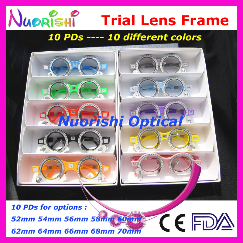 XD05 5pcs a lot Colorful Fixed PD Distance Optometry Trial Lens Frame 10 Different Colors Lowest Shipping Costs