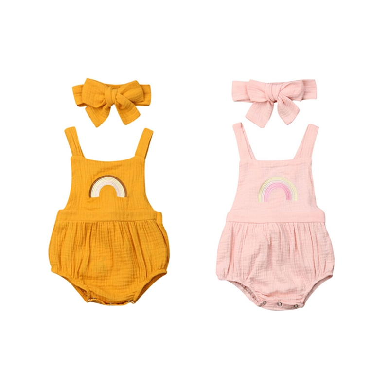 Cotton 100% Newborn Infant Baby Girl Rainbow   Romper   Jumpsuit Headband Outfit 2Pcs Children Kids Summer Sunsuit   Rompers   Clothes
