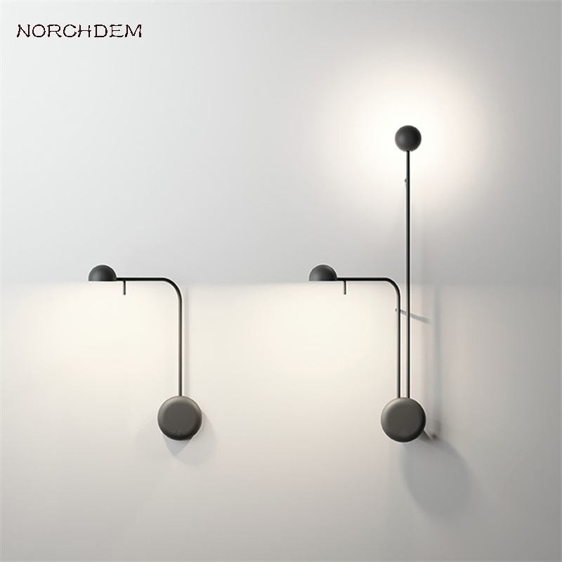 Modern Pin LED Wall Lamp Nordic Designed White Black DIY Bedroom Bedside Foyer Wall Sconces Home Living Room Lighting Fixtures modern wall lamp glass ball led wall sconces bedside wall light fixture bedroom luminaria home lighting vintage lamp