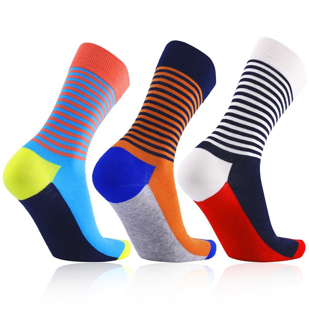 3 pairs European Plus size 41 to 46 Stripe compression men Socks happy fashion socks over the calf